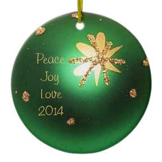 Green Christmas Ball Star Photo Ornament.  Diameter: 2.87 inches Weight: 1.4 ounces  •Full-color, full-bleed printing •White Ceramic •Add Photos, Artwork and Text •Printing on both sides •No minimum order
