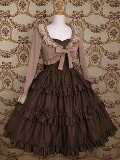 brown short frilled jacket at paddon By Mary Magdalene. Their pieces are so beautiful! Another lovely cardigan, and a beautiful skirt, too. Girly, Pretty Dresses, Beautiful Dresses, Frock Design, Dresses Kids Girl, Gothic Lolita, Lolita Style, Gothic Girls, Mori Girl