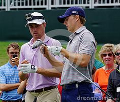 Professional golfers Jordan Spieth and Justin Thomas on the 16th tee during 2015 practice rounds at the Players Championship, TPC Sawgrass course in Ponte Vedra Beach, Florida