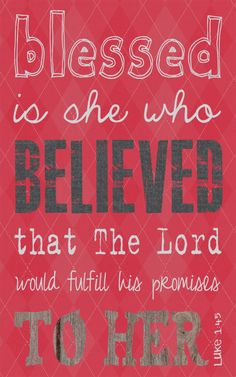 Scripture Art, Bible Verse Art, Faith Based Art, Luke 1:45,