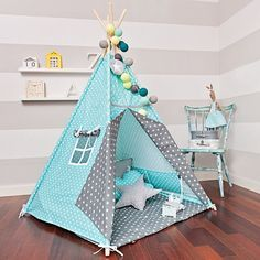 Teepee Kids Play Tent Tipi - Breath of Turquoise Kids Tents, Teepee Kids, Teepees, Deco Pastel, Teepee Play Tent, Baby Kind, Play Houses, Boy Room, Diy For Kids