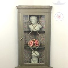 ~NEW~ Vintage corner cabinet with floral interior and dragon fly key.