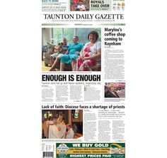The front page of the Taunton Daily Gazette for Monday, Aug. 24, 2015.