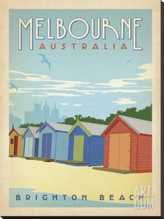 Melbourne, Australia: Brighton Beach Stretched Canvas Print by Anderson Design Group at Art.com
