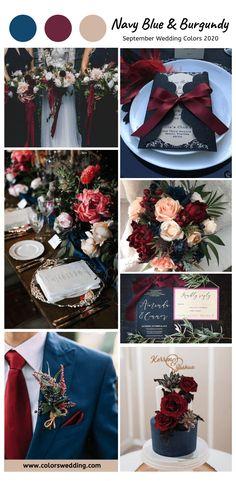 Navy And Burgundy Wedding, Burgendy Wedding, Navy Blue Wedding Theme, Burgundy Top, Navy Blue Weddings, Color Themes For Wedding, Navy Rustic Wedding, Best Wedding Colors, September Wedding Colors