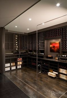 Stained Maple Custom Wine Cellar