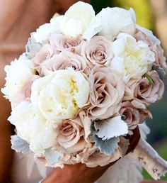 White peonies , sahara roses and dusty miller very nice