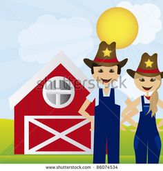 woman and man farmers over landscape farm background. vector by grmarc, via Shutterstock