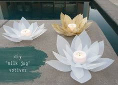 Beautiful lotus flower votive holders made from recycled milk jugs!  From Bliss Bloom Blog.