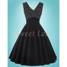Áčkové čierne šaty s bodkovaným vrškom v retro štýle