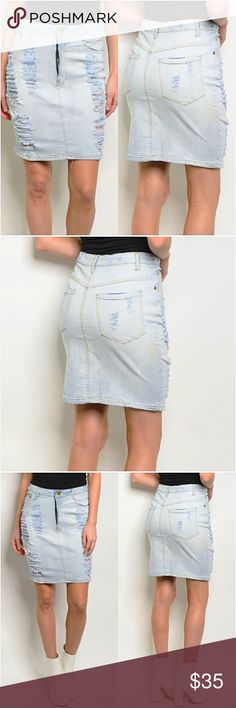 0c0d9f3d4e8241 Light Blue Distressed Denim Jean Skirt SML The perfect on trend distressed denim  skirt this season