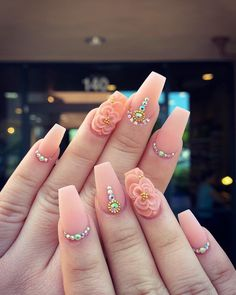 Summer Acrylic Nails, Best Acrylic Nails, Acrylic Nail Designs, 3d Nail Designs, Rhinestone Nails, Bling Nails, Swag Nails, Nails Design With Rhinestones, Luxury Nails