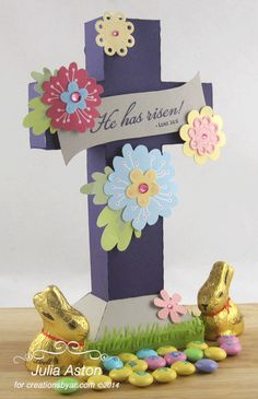 Create With Me: A lovely standing cross box I made using a template from Creations by AR and my Silhouette Cameo.  The stamp is from Verve.  The box slips out of the base and opens - so you can put in a gift or treat.  This could also be used for Baptisms, First Holy Communions or any religious event.