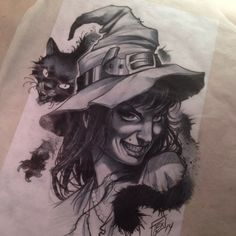 Tattoo Studio, Tattoo Blog, Tattoo Sketches, Tattoo Drawings, Witch Drawing, Halloween Artwork, Dark Tattoo, Chicano Art, Witch Art