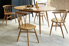 Ercol'snew 'Chiltern' dining collection is ideal for small spaces. Recalling compact designs from the the matt-lacquered oak range includes round-backed armchairs with a lattice pattern, as Ercol Furniture, Home Office Furniture, Dining Furniture, Modern Furniture, Furniture Design, Hardwood Furniture, Compact Dining Table, Oak Dining Table, Contemporary Dining Chairs