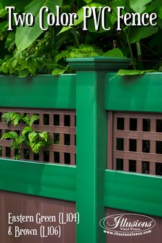 Awesome New Home Idea of Two Color Brown and Green Illusions PVC Vinyl Fencing Panels with Square Lattice Topper. Brick Fence, Front Yard Fence, Farm Fence, Fenced In Yard, Gabion Fence, Horse Fence, Fence Stain, Concrete Fence, Fence Landscaping