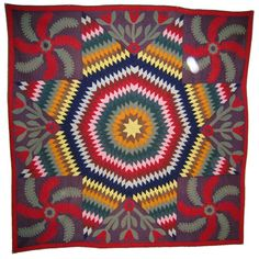 Pieced and Applique Quilt: Star with Princess Feathers  America. Lancaster County, Pennsylvania.