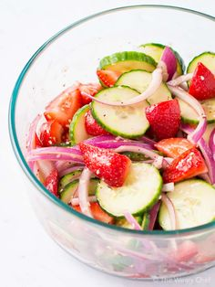 Balsamic Strawberry Cucumber Salad