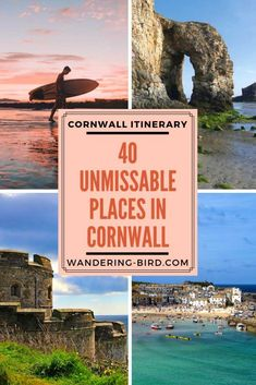 Looking for the best places to see on a Cornwall Road Trip? Here are 40 UNMISSABLE places to see in Cornwall to make your road trip the best it can be! uk destinations Cornwall Road Trip Itinerary- 40 Unmissable Places to visit (with map! Europe Travel Tips, European Travel, Travel Guides, Travel Destinations, Adventure Awaits, Beautiful Places To Visit, Cool Places To Visit, Sightseeing London, Europa Tour