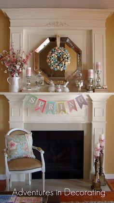 Pastel Spring Easter Mantel i like the shiny tray behind the wreath in place of a mirror