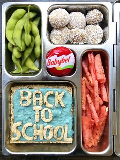 "#ad Whether your kids are going back to school in person or virtually, it's important to fuel them with a great lunch! This playful and colorful lunch will keep their spirits up no matter what. Here's what's inside: Mini @babybel 100% real cheese (the center and star with no artificial flavors or preservatives), back to school sandwich with bright whipped cream cheese or hummus (either works!), watermelon ""fries"", edamame and coconut peanut butter balls! #Babybel #jointhegoodness Coconut Peanut Butter, Peanut Butter Balls, School Lunch Recipes, Whipped Cream Cheese, Edamame, Creative Food, Preserves, Hummus, Watermelon"