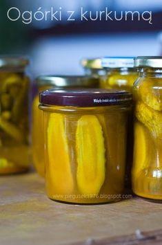 ogórki z kurkumą. ogórki z przyprawą do grilla, ogórki, przepisy na ogórki, przetwory z ogórków, domowe przetwory z ogórkami Slow Food, Fermented Foods, Superfood, Preserves, Pickles, Cucumber, Side Dishes, Curry, Food And Drink