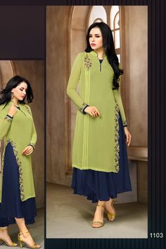 Green-Stylish-Event-Wear-Kurti-Zisa-Kurti-Catalog-1103