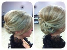 Bridesmaid hair, low bun. updo. I even like this as an everyday style for work. Sleek and professional.