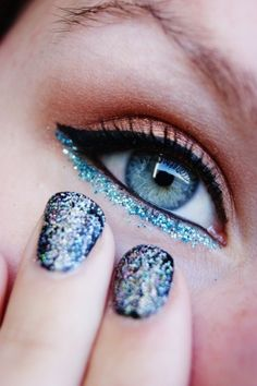 Blue sparkly eyeliner, perfect when you are in the mood to try out a trendy and different kind of look. Visit Beauty.com for all the best eye makeup.