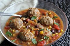 Meatball Taco Soup. I should have thought to combine my two favorite foods: meatballs and taco soup!