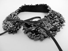 Black sequin collar necklace evening fashion by LoveThirties