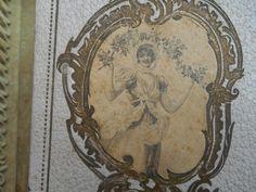 Antique 1900's Merveilleuse French Paper Box Black & White Print Vintage Collectible Pastel Purple Art Nouveau Box Gold Scriptures