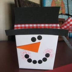 snowman, made from take out box