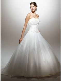 Beautiful Ball Gown Strapless Chapel Train Satin and Organza Wedding Dress