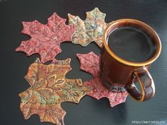 presine o sottobicchieri foglie d'autunno - cartamodello e tutorial