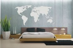 wall decoration with world map  (want that bed frame & headboard)