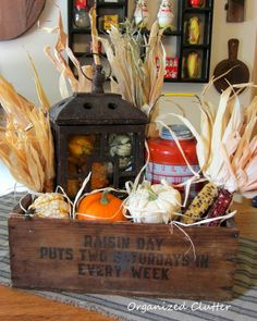 Rustic Fall Vignette in a Wooden Crate