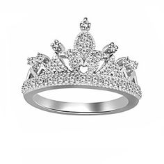 0.11 Ct White 10K Solid White Gold Crown Ring by JewelryHub on Opensky