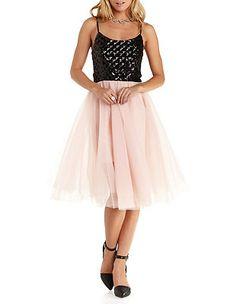 Trixxi Tulle & Sequin Skater Dress: Charlotte Russe