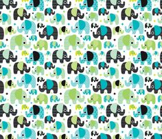 Blue boy aztec elephant parade fabric by littlesmilemakers on Spoonflower - custom fabric - wallpaper and wrapping paper and some DIY inspiration by Maaike Boot