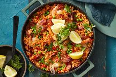 Easy one-pan prawn and chorizo paella