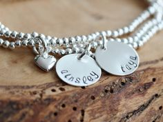 Personalized Silver Name Bracelet Stack - Adjustable, Hand Stamped | 2 Sisters Handcrafted