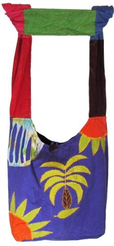 f4d6f9d5cd72 Shangri-La Nook Hobo Hippie Cotton crossbody Palm Tree Gypsy Bag Handmade  in Nepal -