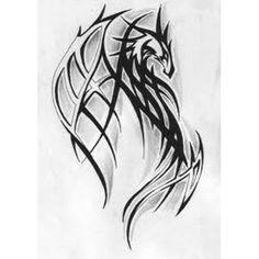 Drache Stammes Stil Tattoo.jpg 380×380 Pixel