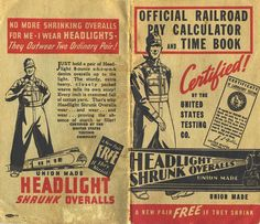 Official Railroad Pay Calculator and Time Book (Cover), Headlight Overall Mfg. Co., 1934