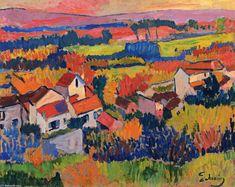 'Landschaft in der Nähe von Chatou', öl auf tafel von André Derain (1880-1954, France)