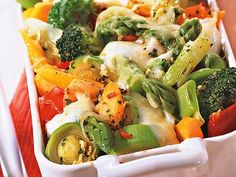 the German vegetable casserole is a vegetarian dish and contains a variety of vegetable. Baked in the oven with cheese. Great summer dish. Easy and healthy.