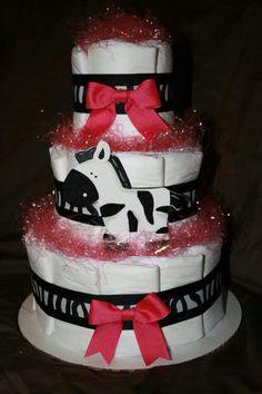 zebra girl diaper cake