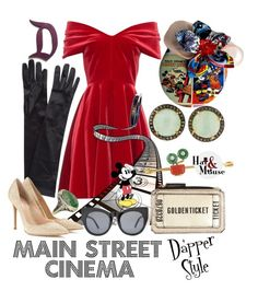 """""""Dapper Style Main Street Cinema"""" by hatandmouse.  Vintage inspired Dapper Day look inspired by the Main Street Cinema at Disneyland featuring a pillbox hat and red velvet dress. Mickey Mouse also makes an appearance in this Pinup Disneybound set. #mickeymouse #disneybound #disneyland"""