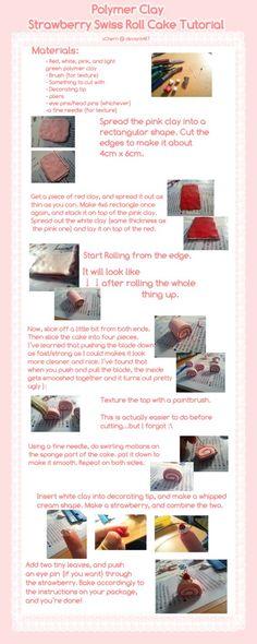 Tutorial: Polymer clay strawberry swiss roll by =kurunut on deviantART